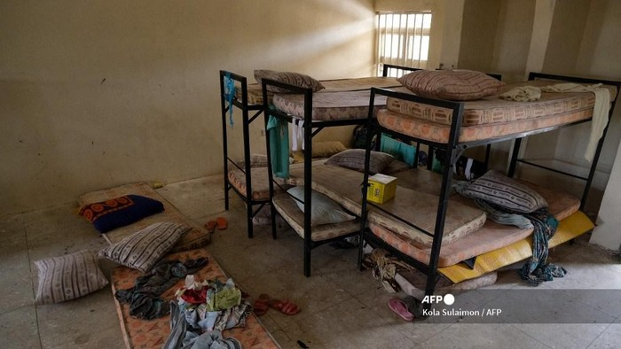 Belongings of the abducted students are pictured at the deserted dormitory of the Government Girls Secondary School, the day after the abduction of over 300 schoolgirls by gunmen in Jangebe, a village in Zamfara State, northwest of Nigeria on February 27, 2021. - More than 300 schoolgirls were snatched from dormitories by gunmen in the middle of the night in northwestern Zamfara state on February 26, in the third known mass kidnapping of students since December. (Photo by Kola Sulaimon / AFP)