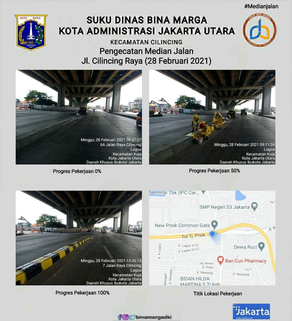 Dinas Bina Marga atasi kerawanan pembatas jalan di Jl Cilincing Raya. (Dok Dinas Bina Marga DKI Jakarta)