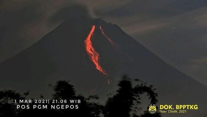 Gunung Merapi erupsi malam ini dengan mengeluarkan awan panas sejauh 1,5 km, Senin (1/3/2021).