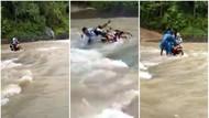 Viral Video Guru Honorer Tercebur Saat Terobos Sungai di Sukabumi