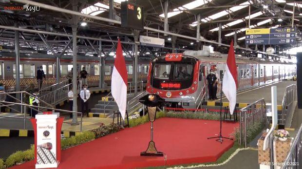 Peresmian pengoperasian kereta rel listrik lintas Yogyakarta-Solo, Yogyakarta,  Senin (1/3/2021). (Tangkapan layar Youtube Setpres RI)