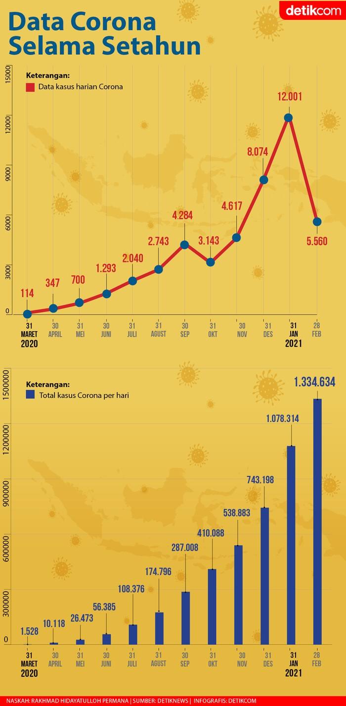 Data Corona di Indonesia Selama Setahun (Tim Infografis detikcom)