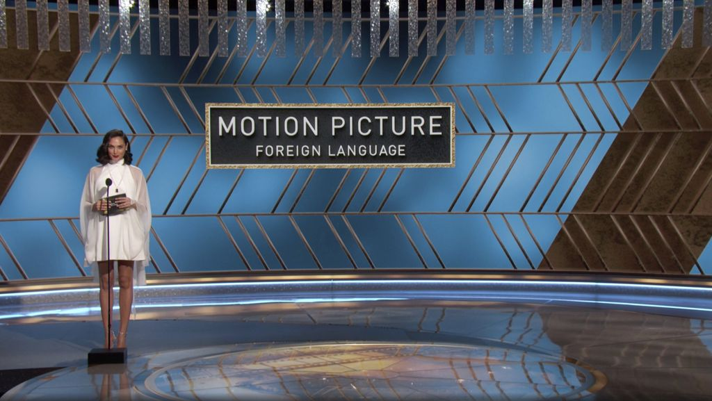 In this video grab issued Sunday, Feb. 28, 2021, by NBC, Gal Gadot presents the award for best foreign language motion picture at the Golden Globe Awards. (NBC via AP)