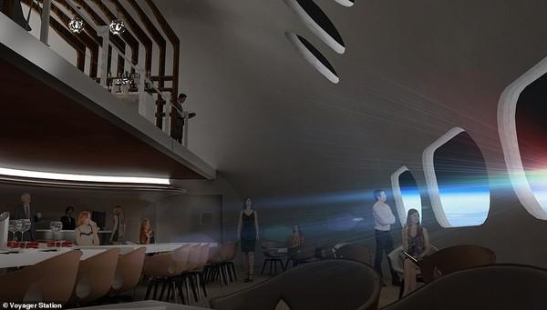 Hotel ini memiliki fasilitas yang tak kalah dengan hotel berbintang pada umumnya. Di sana ada layanan kapal pesiar, restoran, spa, dan bioskop. Di samping itu juga ada fasilitas penelitian luar angkasa yang dapat digunakan NASA.