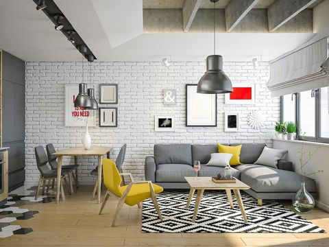 Render of a beautiful and modern living room for young family. Concrete and wood desing with yellow color furniture to enrich the room.