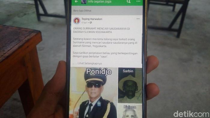Postingan tentang pensiunan polisi Suriname mencari saudaranya di Sleman di salah satu grup Facebook.