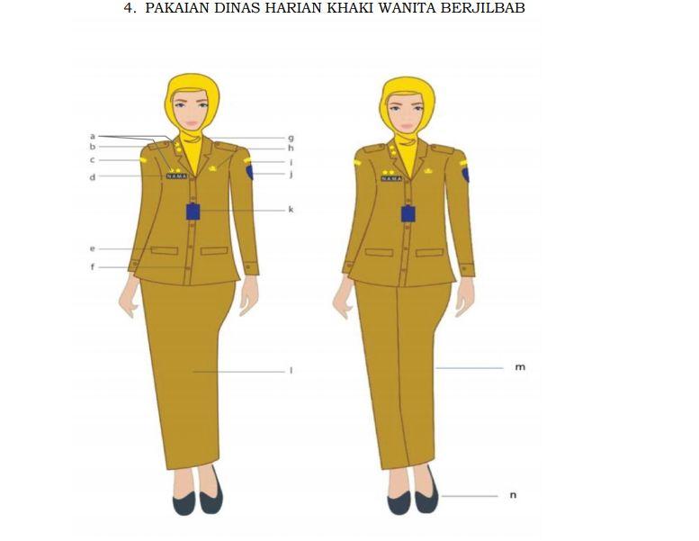 Aturan PDH PNS untuk wanita berjilbab (Dok. Permendagri)