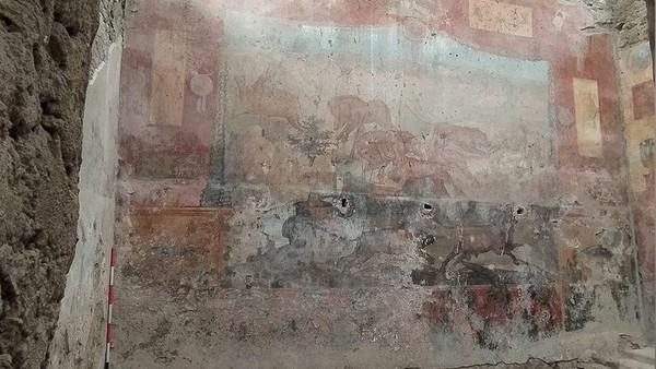 Lukisan dinding tersebut menampilkan adegan berburu hewan liar, dengan gambar beberapa hewan liar yang terlukis di beberapa bagian lantai rumah. Lukisan ini dibuat oleh seniman tidak bernama.