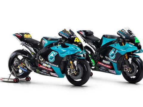 Motor YZR M1 Rossi (kiri) dan Franco Morbidelli (kanan) untuk musim MotoGP 2021