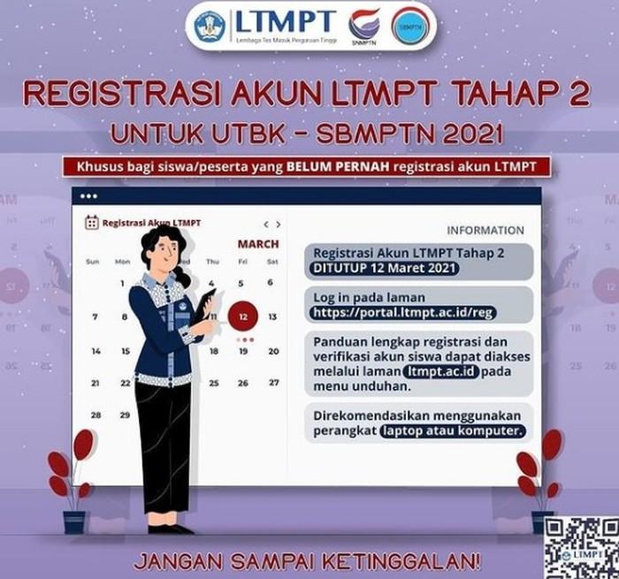 sbmptn 2021 registrasi akun ltmpt tahap dua