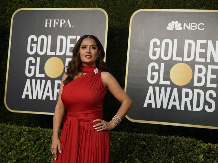Salma Hayek arrives at the 78th Annual Golden Globe Awards at the Beverly Hilton in Beverly Hills, CA on Sunday, February 28, 2021.