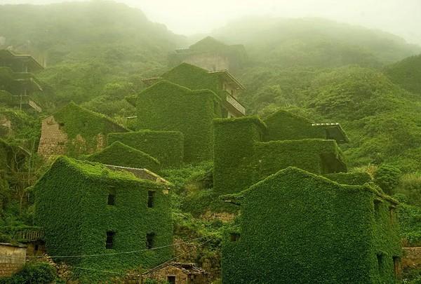 Desa nelayan yang terbengkalai pada tahun 1990-n dan ditutupi lumut di Houtouwan, China.