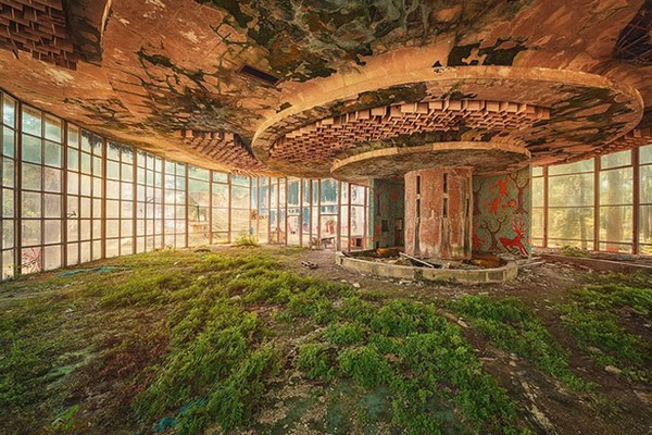 Bangunan megah yang mulai runtuh dan diselimuti tumbuhan rambat.