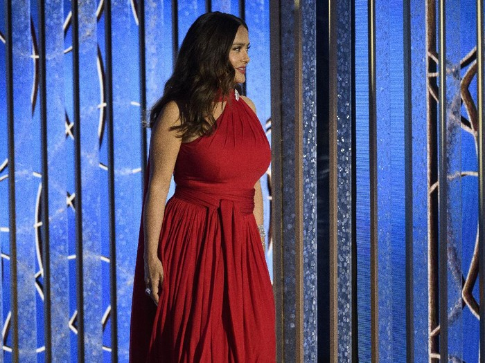 Salma Hayek at the 78th Annual Golden Globe Awards at the Beverly Hilton in Beverly Hills, CA on Sunday, February 28, 2021.