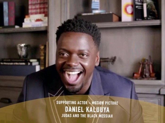 """78th ANNUAL GOLDEN GLOBE AWARDS -- Pictured in this screen grab: Daniel Kaluuya, winner of Best Actor in a Supporting Role in Any Motion Picture for """"Judas and the Black Messiah"""", speaks at the 78th Annual Golden Globe Awards on February 28, 2021. -- (Photo by: NBC)"""