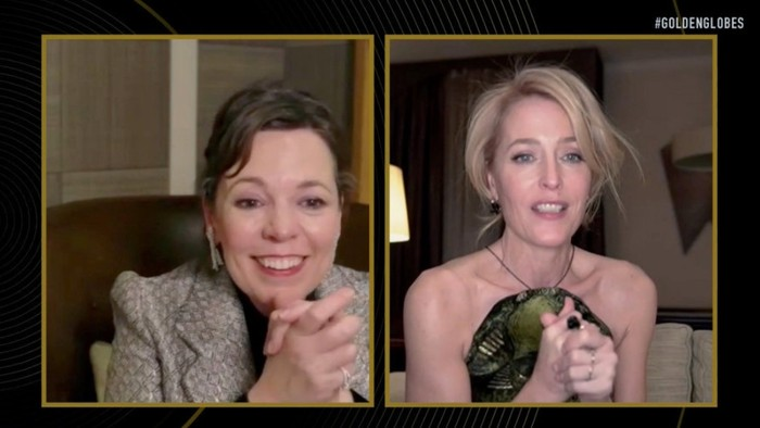 """78th ANNUAL GOLDEN GLOBE AWARDS -- Pictured in this screen grab: (l-r) Olivia Colman and Gillian Anderson, winner of Best Performance by an Actress in a Supporting Role in a Series, Limited Series or Motion Picture Made for Television for """"The Crown"""", speak at the 78th Annual Golden Globe Awards on February 28, 2021. -- (Photo by: NBC)"""