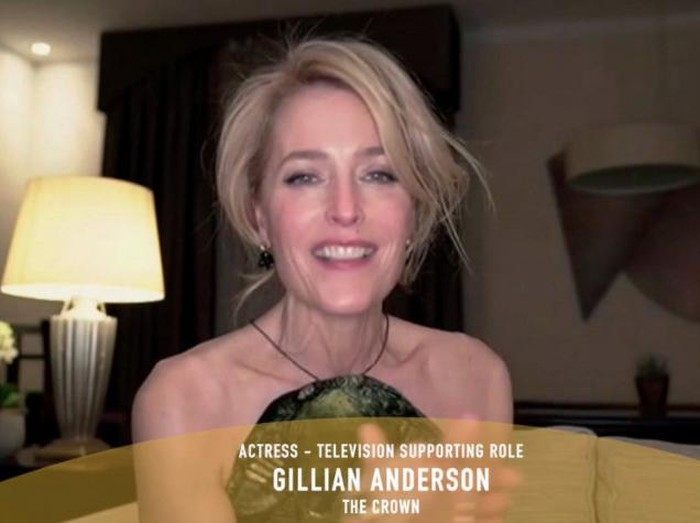 """78th ANNUAL GOLDEN GLOBE AWARDS -- Pictured in this screen grab: Gillian Anderson, winner of Best Performance by an Actress in a Supporting Role in a Series, Limited Series or Motion Picture Made for Television for """"The Crown"""", speaks at the 78th Annual Golden Globe Awards on February 28, 2021. -- (Photo by: NBC)"""