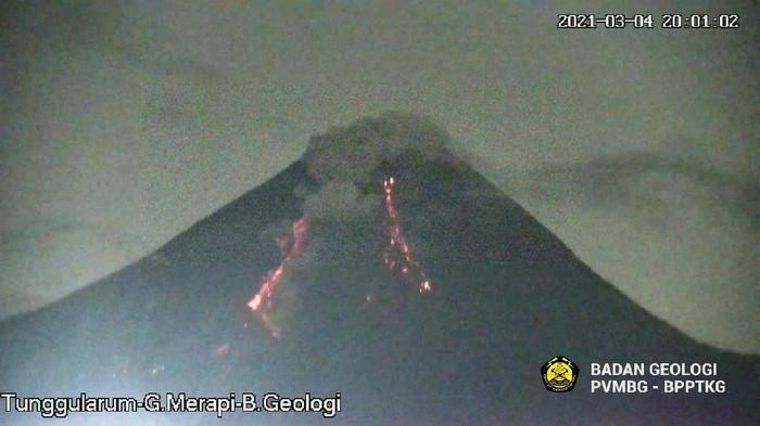 Gunung Merapi erupsi dan mengeluarkan awan panas guguran sejauh 1,3 kilometer, Kamis (4/3/2021).