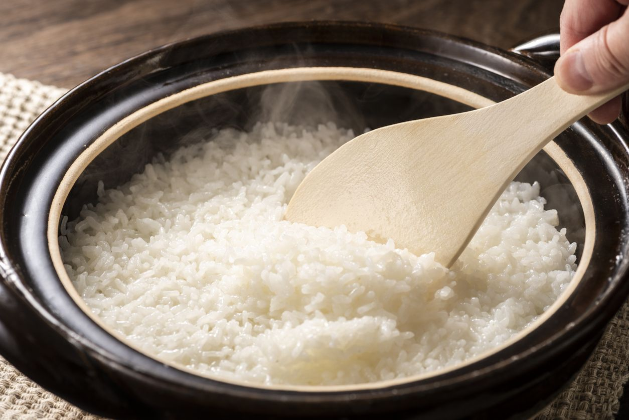Cooked rice in a clay pot