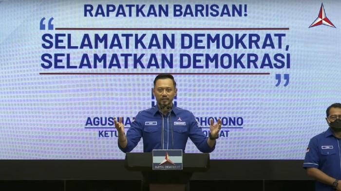Agus Harimurti Yudhoyono (AHY) menanggapi hasil KLB Partai Demokrat di Deli Serdang, Sumatera Utara, Jumat (5/3/2021).