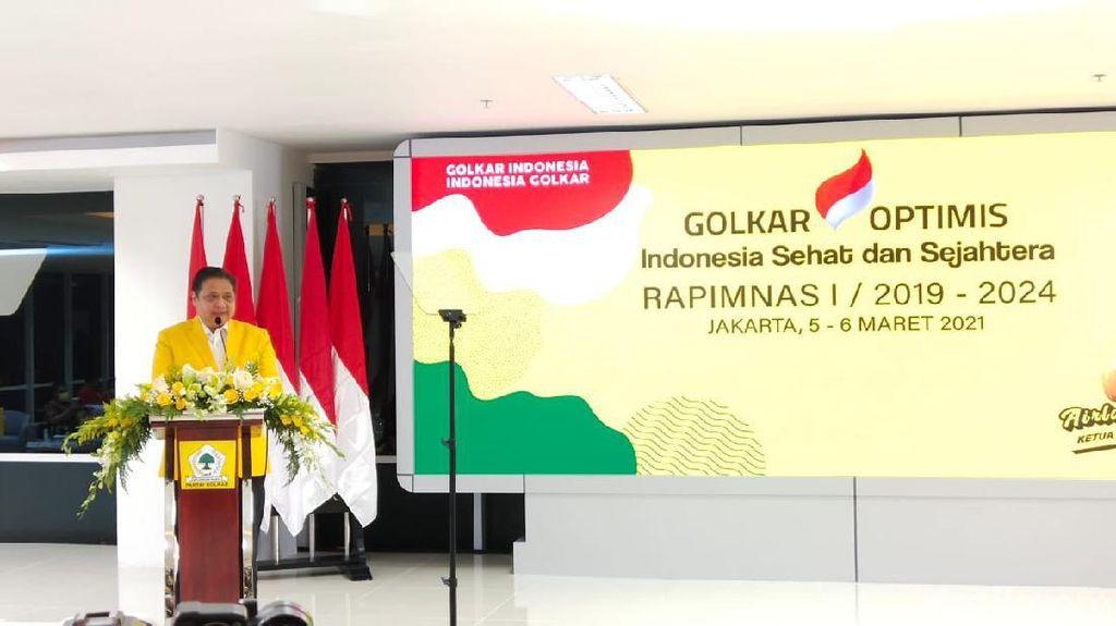 Buka Rapimnas Golkar, Airlangga Minta Kader Militan Menuju 2024