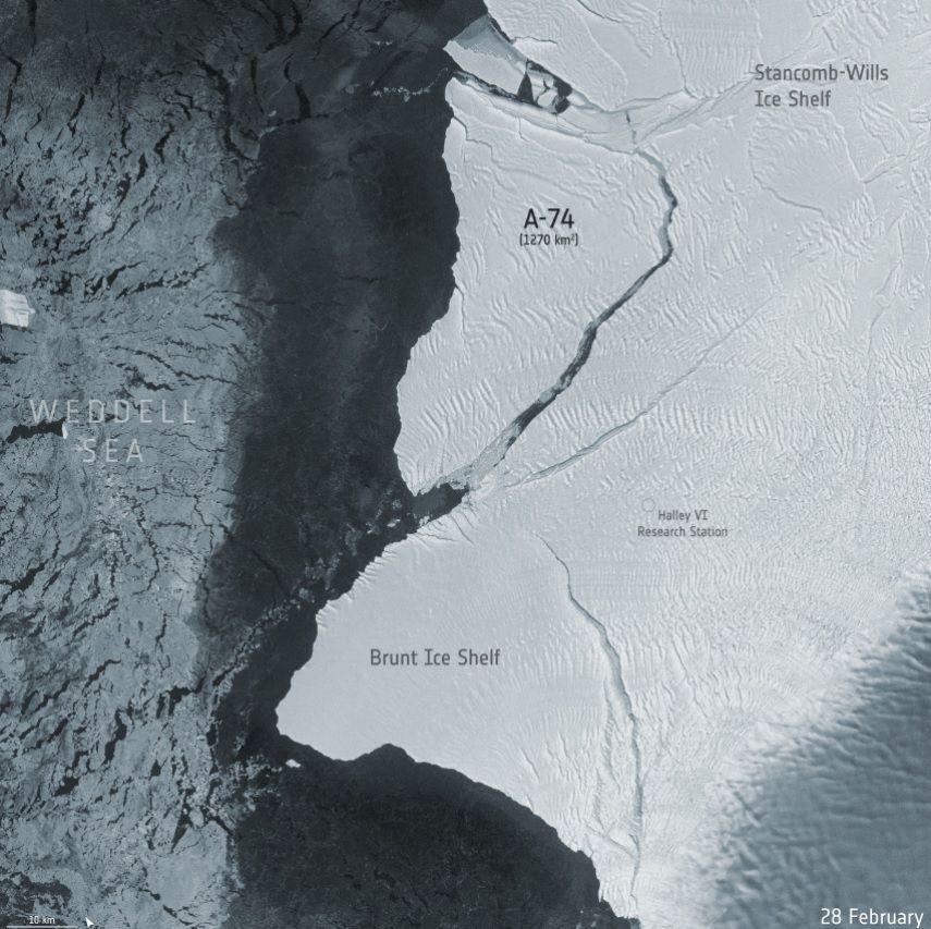 Badan Antariksa Eropa (ESA) berhasil memotret sebelum dan sesudah gunung es di Antartika yang ukurannya dua kali wilayah DKI Jakarta itu terbelah dilihat dari luar angkasa.