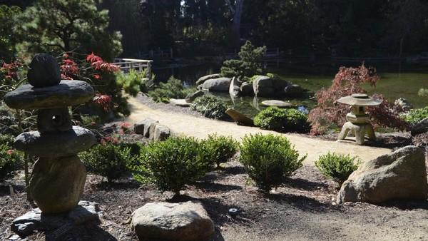 Jalan setapak di Lotusland dilapisi dengan lentera kuno bergaya Jepang, dan tanaman seperti azalea, bambu, kamelia, dan magnolia bintang. Pohon yang ditanam termasuk bunga sakura dan gingko.