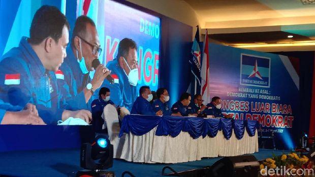 Suasana sidang di KLB Partai Demokrat di The Hill Hotel and Resort Deli Serdang, Sumut (Ahmad Arfah/detikcom)
