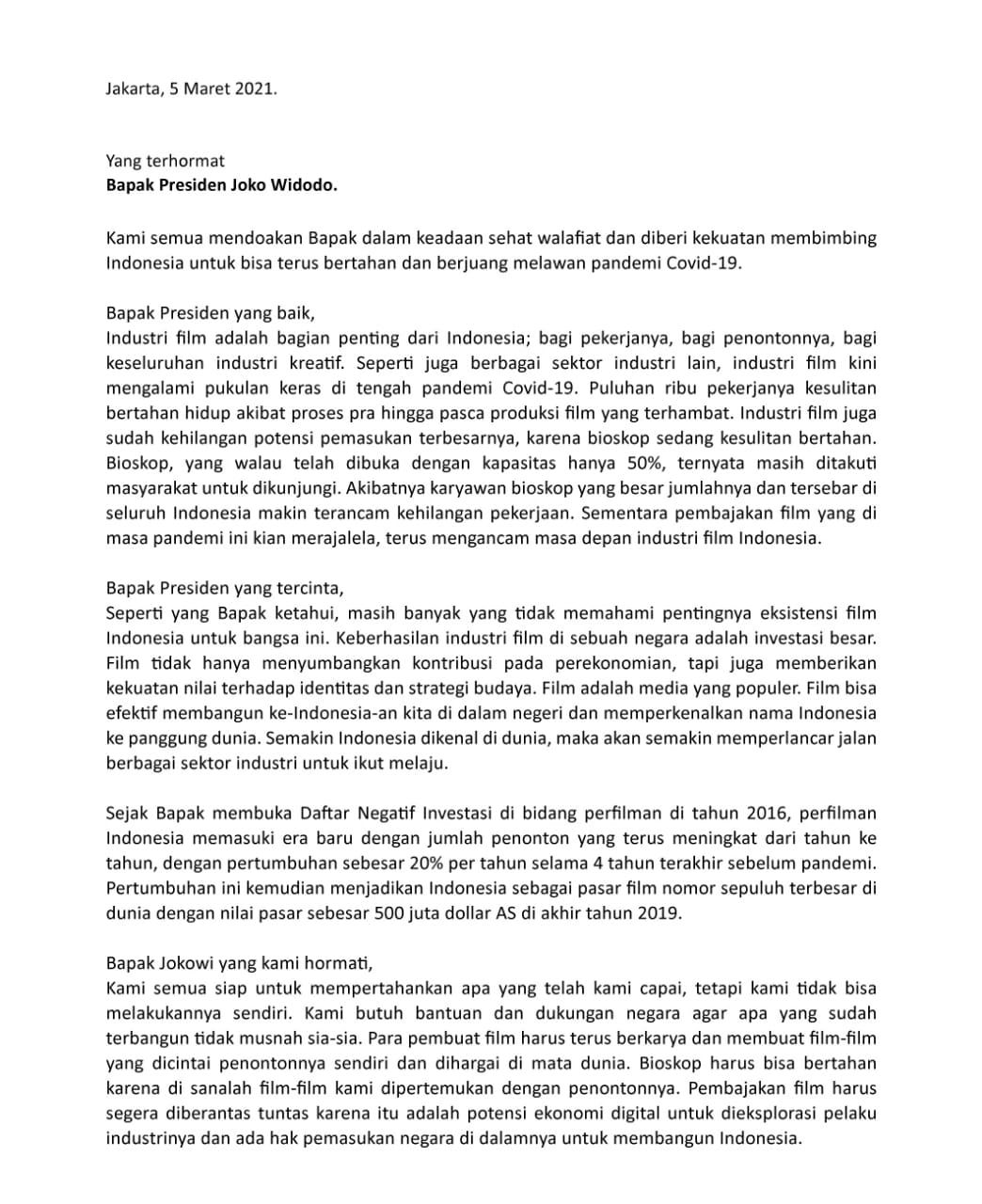 Surat Insan Film Indonesia ke Presiden Joko Widodo