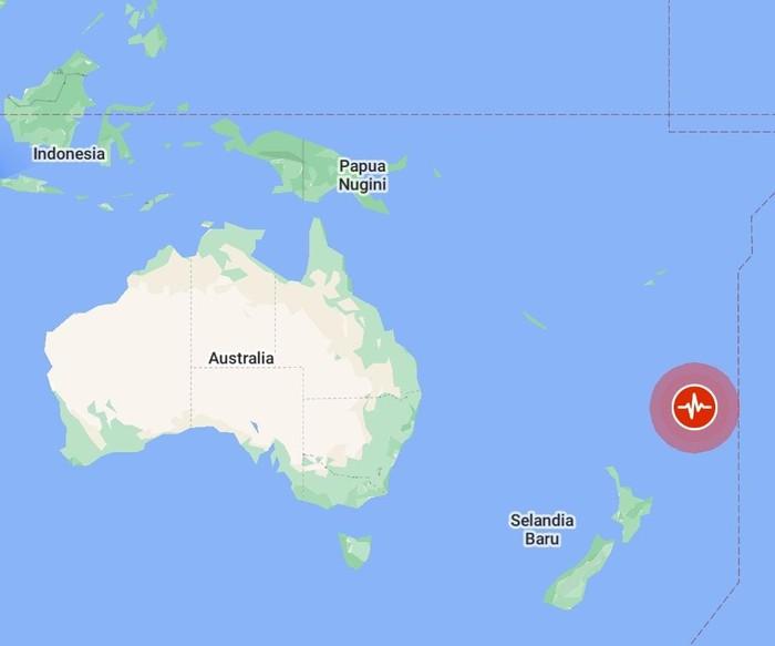 Titik gempa M 8,1 di Pasifik (Screenshot Google Maps)