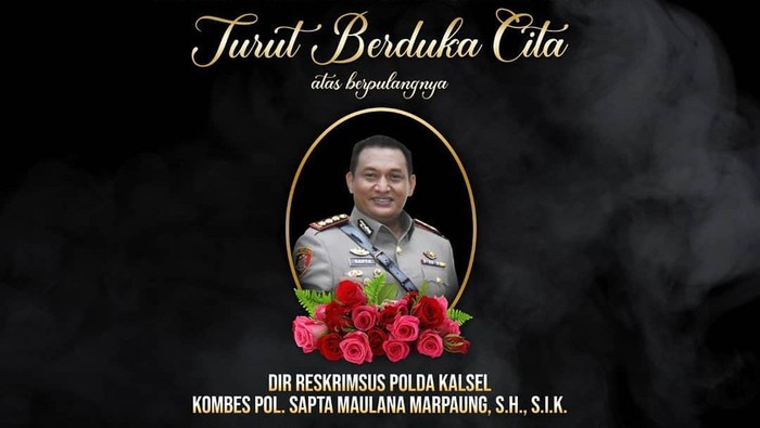 Dirkrimsus Polda Kalsel Kombes Sapta Maulana Marpaung meninggal dunia. Foto: Instagram Ditnarkoba Polda Metro Jaya.