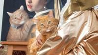 Gemasnya Si Kocheng Oren Berpose di Lukisan Ikonik