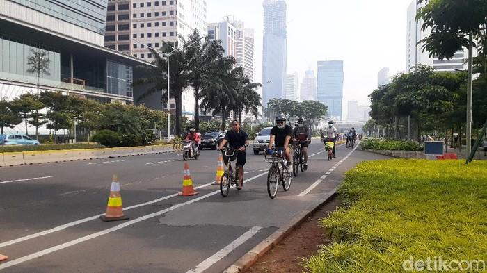 Jalur sepeda di Jalan Sudirman-Thamrin (Afzal/detikcom)