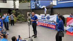 Bicara Berlatar Spanduk Moeldoko Perusak Demokrasi, AHY: Lawan Kezaliman!
