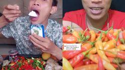 Aksi Pria Mukbang Cabe dan Telur Mentah lewat Live Streaming TikTok