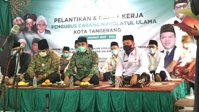 Sekjen Partai Gerindra Ahmad Muzani memberikan sambutan dalam pelantikan dan rapat kerja pengurus cabang Nahdlatul Ulama Kota Tangerang pada Minggu (7/3/2021). Dok Istimewa