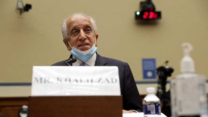 WASHINGTON, DC - SEPTEMBER 22: U.S. Special Envoy for Afghanistan Zalmay Khalilzad testifies during a hearing before a subcommittee of the House Committee on Oversight and Reform September 22, 2020 on Capitol Hill in Washington, DC. The Afghan government and Taliban are 10 days into talks aimed at ending two decades of war, though the sides remain far apart and the level of violence in the war-torn country is unacceptably high, according to Zhalilzad.   Alex Wong/Getty Images/AFP (Photo by ALEX WONG / GETTY IMAGES NORTH AMERICA / Getty Images via AFP)
