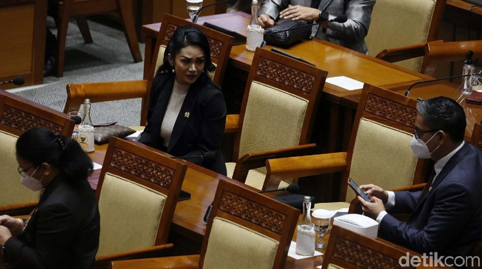 Anggota DPR RI Krisdayanti mengikuti rapat paripurna di Gedung Parlemen Senayan, Jakarta, Senin (8/3). Krisdayanti sempat melepas masker.