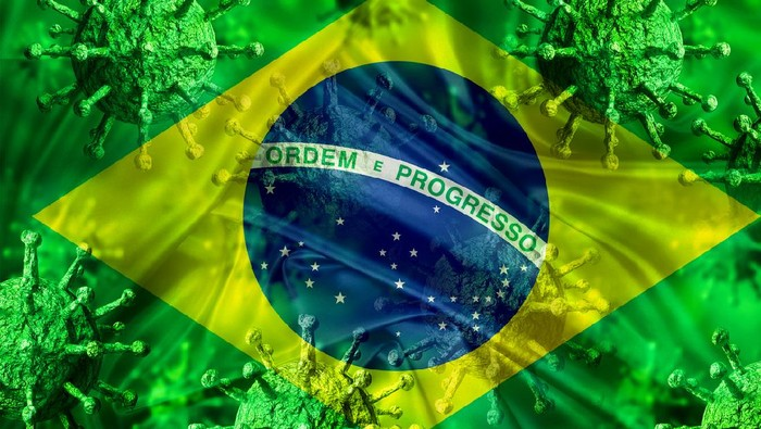 covid-19 disease caused by the coronavirus contaminating Brazil. National flag flying with virus. 3D rendering