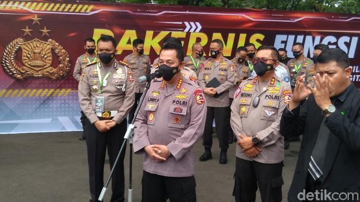 Kapolri Jenderal Listyo Sigit Prabowo saat menghadiri Rakernid Fungsi Lantas 2021