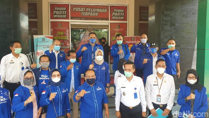 Pengurus Partai Demokrat di DIY datang Kanwil Kemenkumham Yogyakarta, Rabu (10/3/2021).