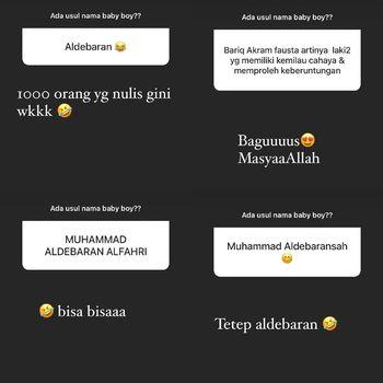 Zaskia Sungkar yang meminta referensi nama di akun Instagram Storynya