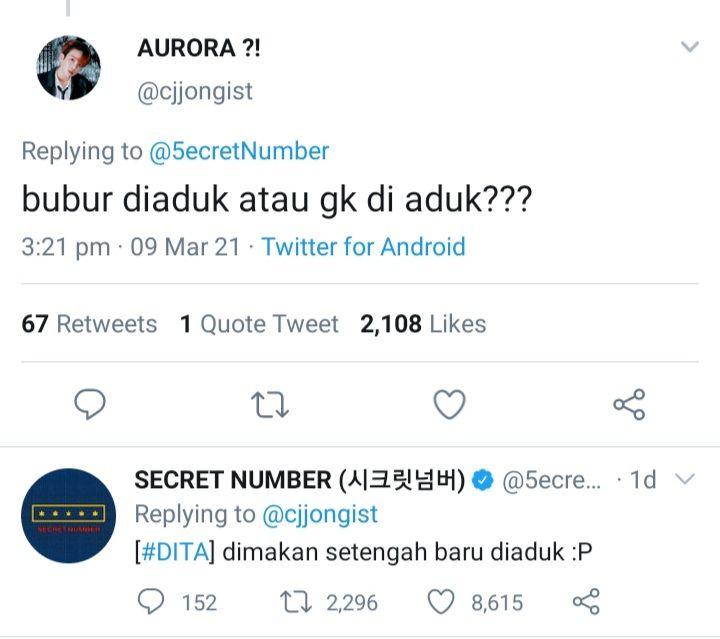 Dita Karang ungkap makanan favoritnya lewat Mention Party di akun resmi Twitter Secret Number.