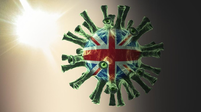 United Kingdom, British flag on the COVID-19, coronavirus, virus one side is dark, one side is bright