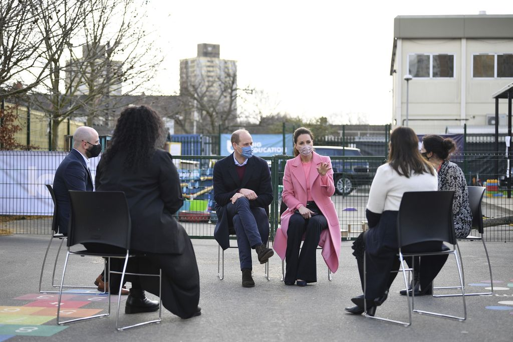 Britain's Prince William, with Kate, Duchess of Cambridge, visits School21, a school in east London, Thursday March 11, 2021. (Justin Tallis/Pool via AP)