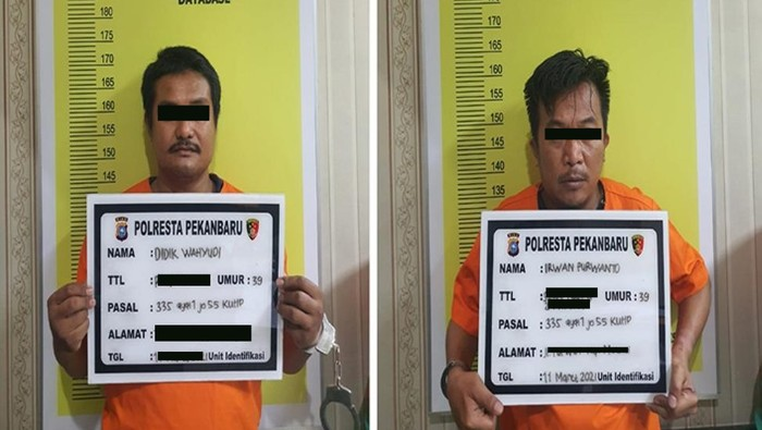 Tampang 2 pelaku teror kepala anjing di Riau (dok. Polda Riau)