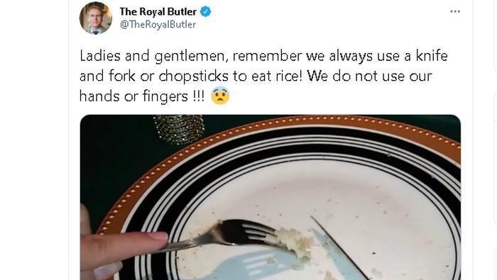 Pakar etiket Grant Harrold dikritik netizen Asia setelah menyebut bahwa makan nasi harus menggunakan pisau dan garpu atau sumpit. Hal ini ia tuliskan melalui cuitannya di akun Twitter miliknya @TheRoyalButler.