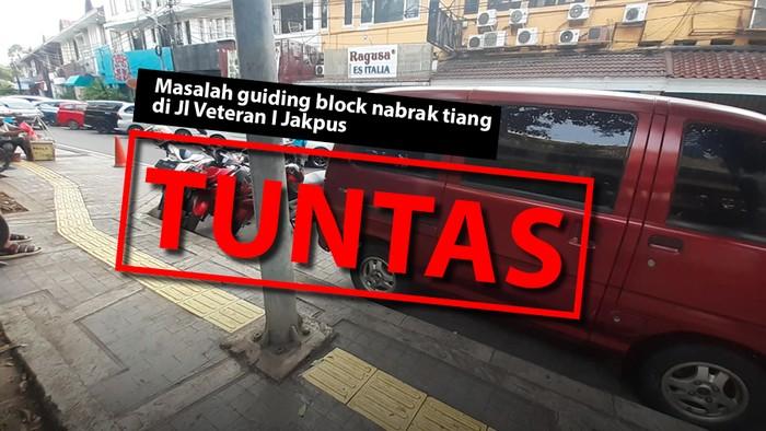 Masalah guiding block nabrak tiang di Jl Veteran I Jakpus sudah tuntas. (Repro: Mindra Purnomo/detikcom)