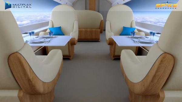Sebagai gantinya, pihak Spike Aerospace mengganti jendela di kabin pesawat dengan layar komputer untuk mensimulasikan panorama di luar. Menariknya lagi, bangku di pesawat juga bisa diubah menjadi kasur hingga untuk meeting.