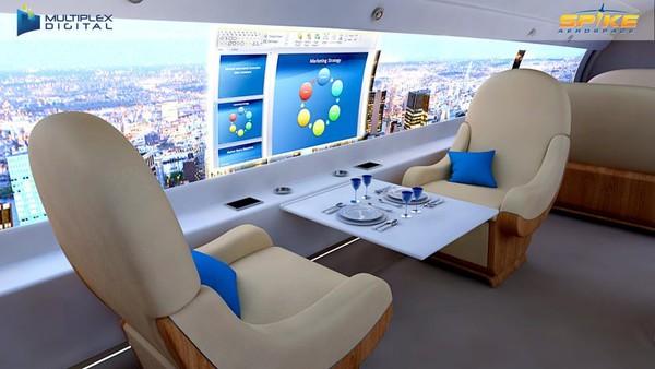 Pesawat jet supersonik itu juga dilengkapi dengan tempat duduk yang luas dan bisa dikontrol menjadi kasur atau area makan lengkap dengan TV flat-screen.